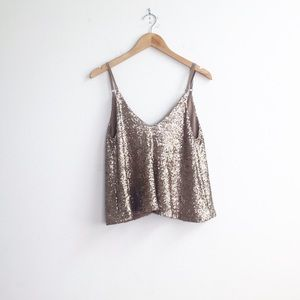 Tobi : Gold Sequin Tank Size Small